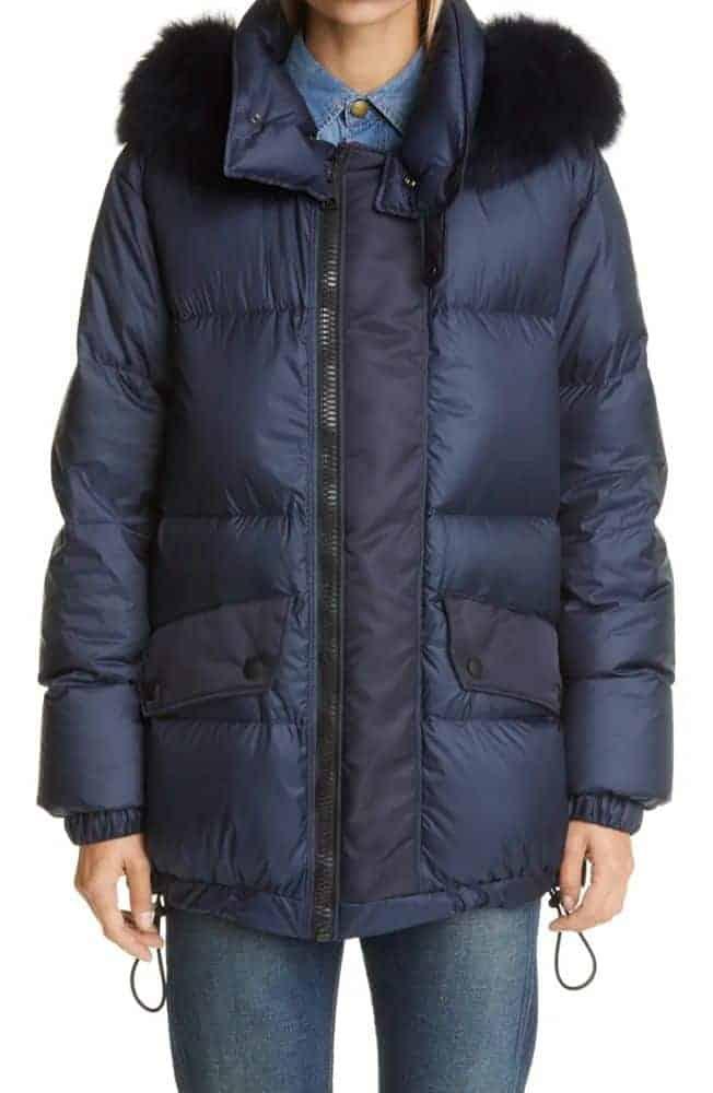 Nordstrom Genuine Fox Fur Trim Puffer Coat Mr & Mrs Italy