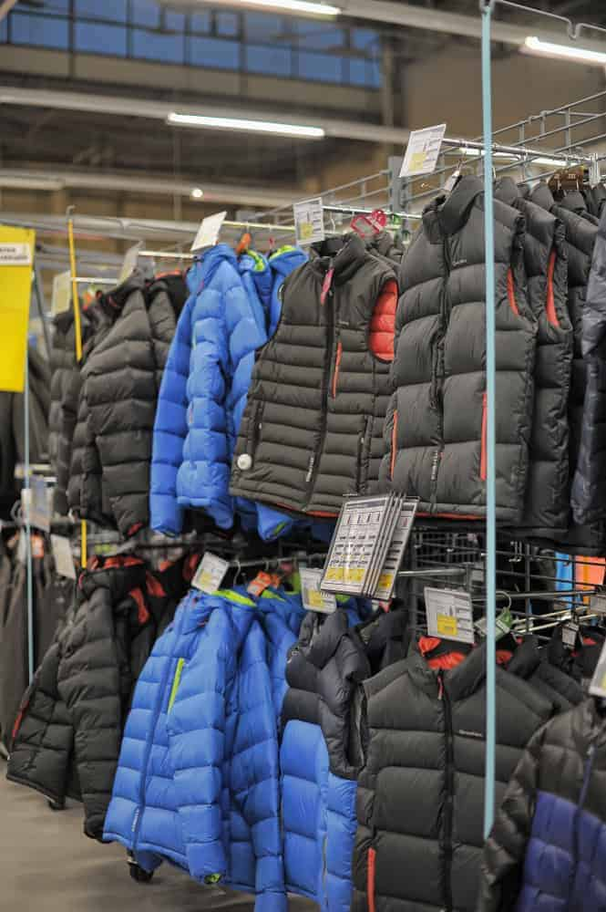 Winter jackets in a sports store.