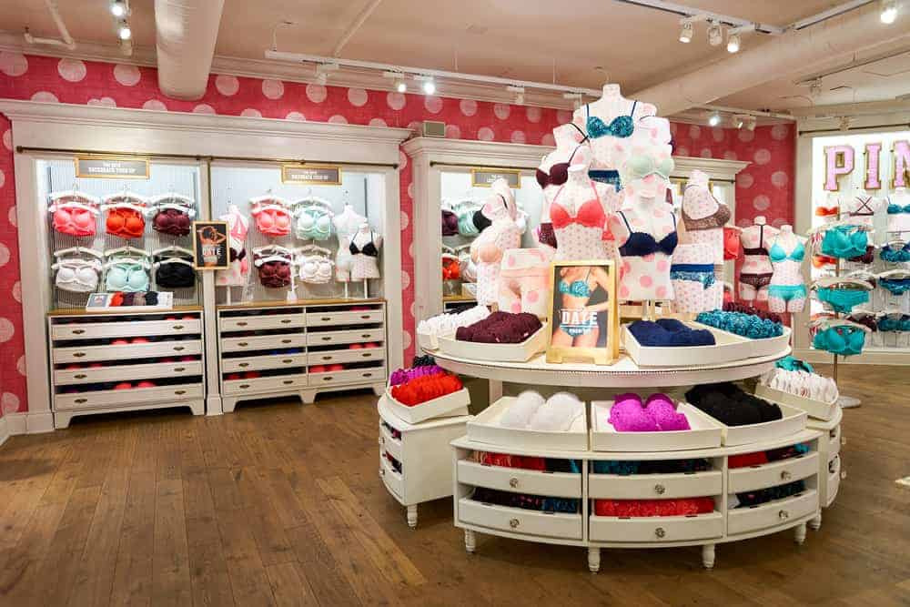 Victoria's Secret store displaying lingerie sets.