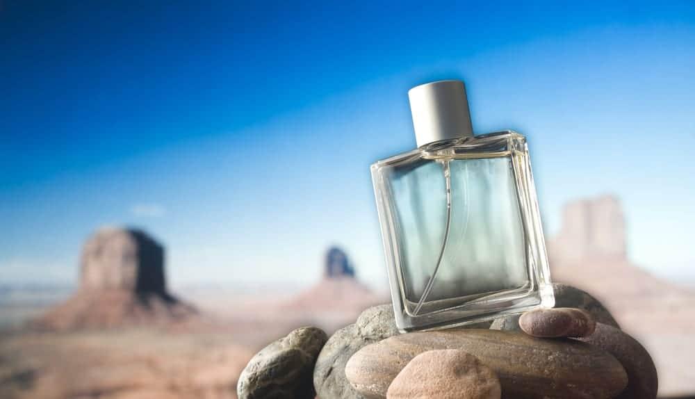 A perfume bottle on rocks.