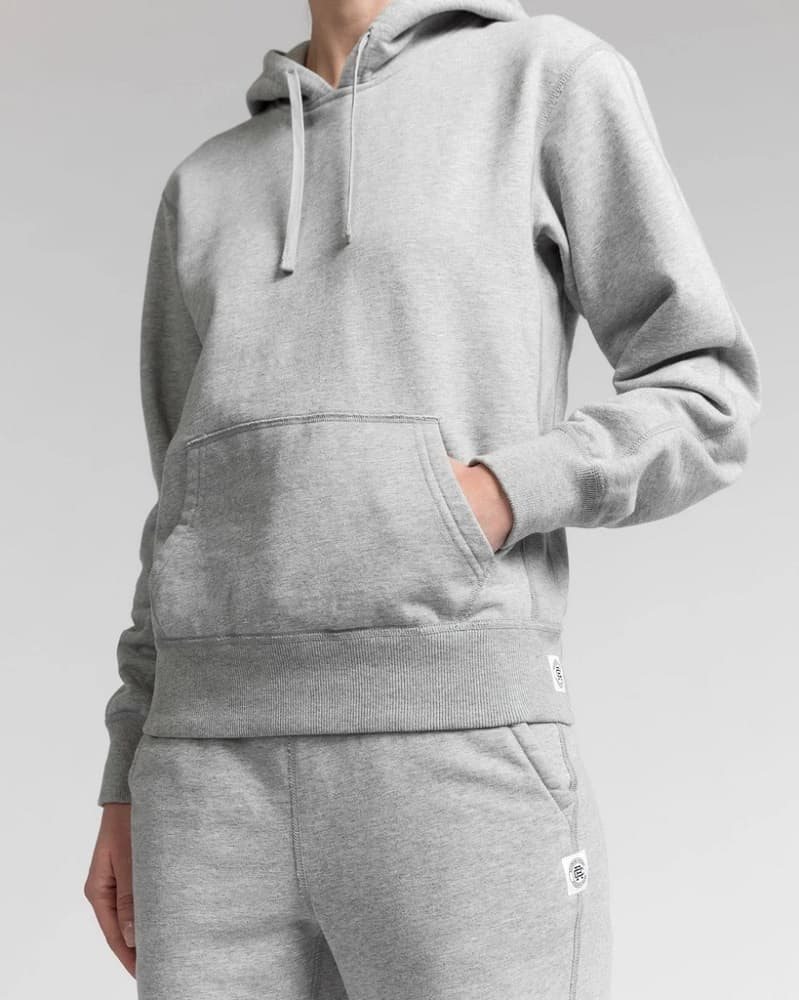 The Reigning Champ Midweight Terry Relaxed Hoodie in light gray.
