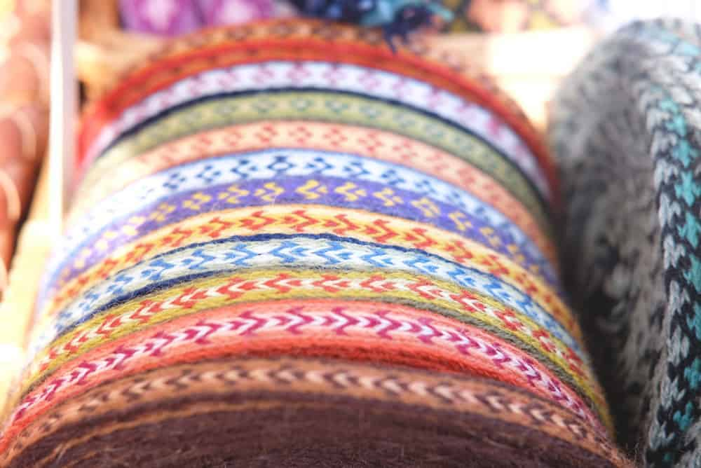 Multicolored ribbon fabric with patterns.