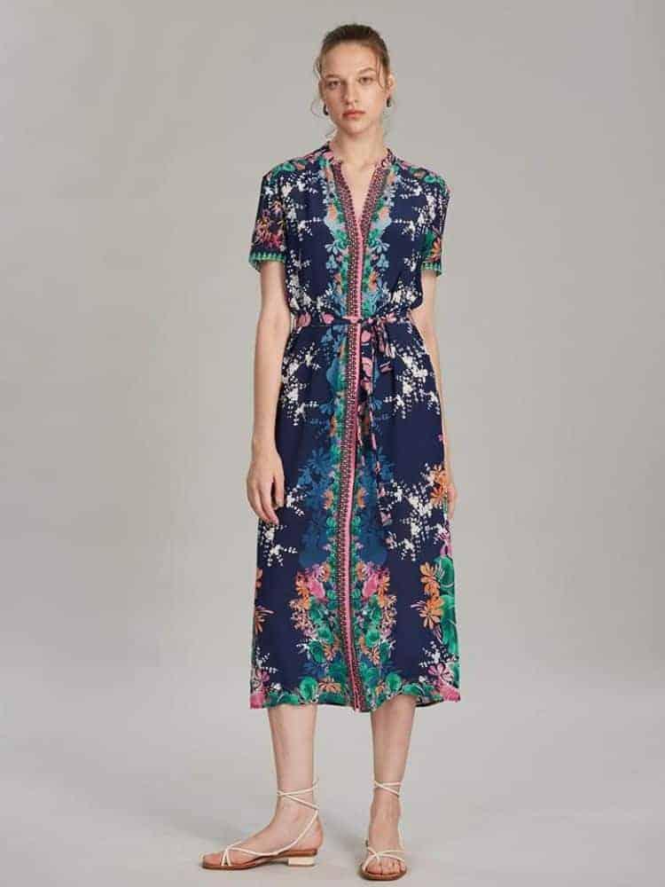 Saloni Vicki Dress In Lily Lake Print