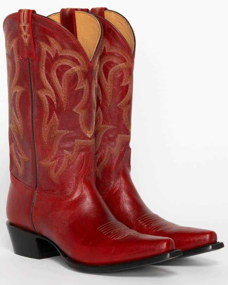 Sheplers Shyanne Women's Red Leather Cowgirl Boots - Snip Toe