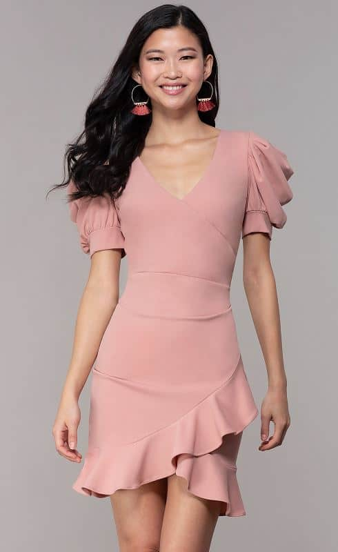The Short Melon Sleeve Wedding-Guest Party Dress from Simply Dresses.