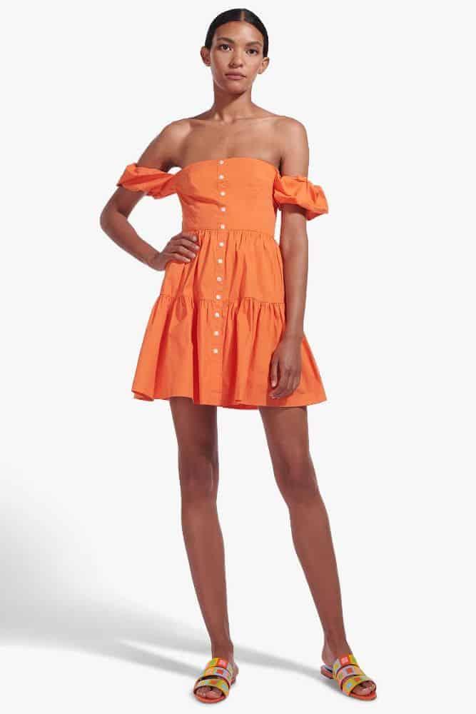 Staud Mini Elio Dress in Nectarine