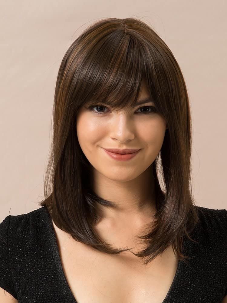 Long Bob Straight Human Hair Blend Wigs With Bangs 14Inches from WigsBuy.