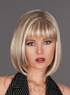 Human Hair Medium Straight Bob Hairstyle Lace Front Wigs from WigsBuy.