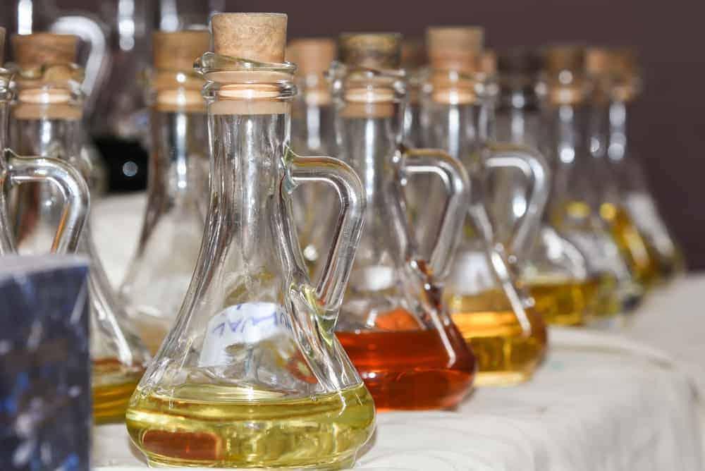 Perfumes in vintage bottles.