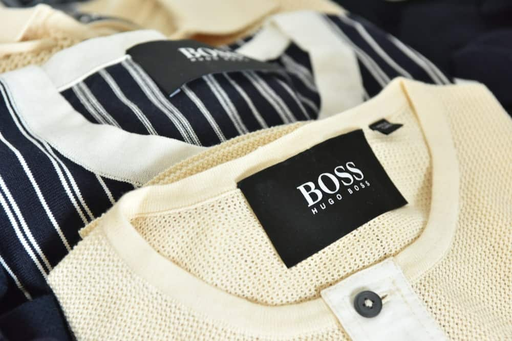 This is a close look at a pair of Hugo Boss shirts on display.