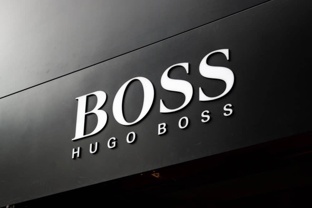 This is a close look at the Hugo Boss storefront showcasing the logo display.
