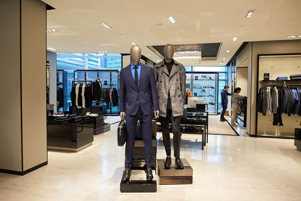 This is a close look at the inside of a Hugo Boss store.
