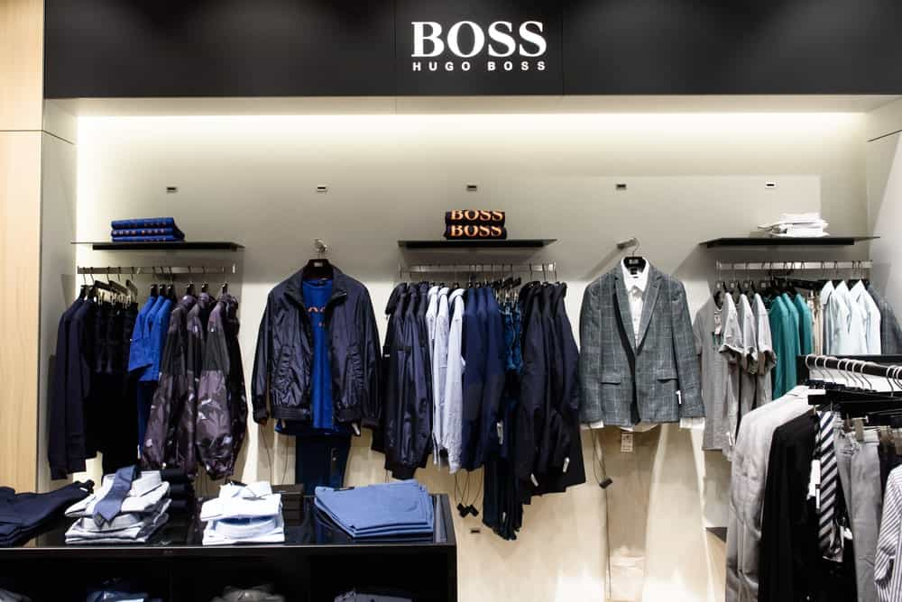 This is a look at the various products of Hugo Boss on display at a store.