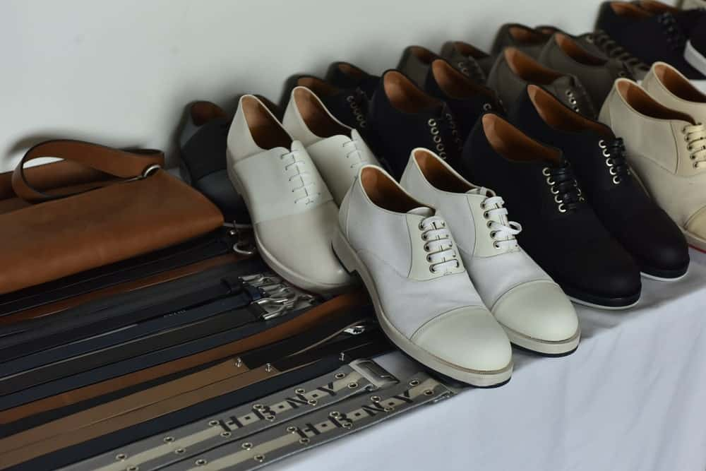 This is a close look at the shoes and accessories of Hugo Boss.
