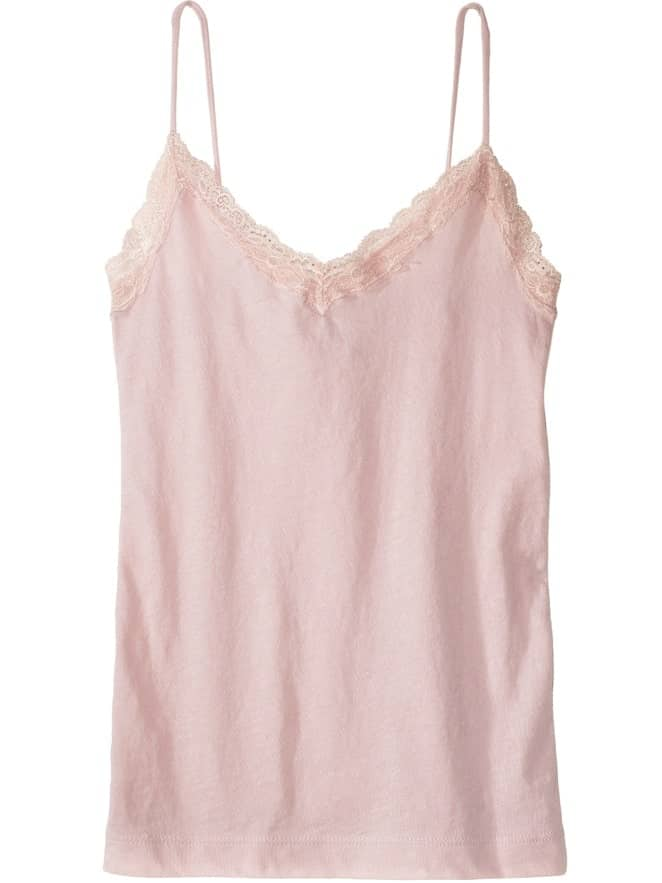 A close look at a pink cotton camisole with spaghetti straps.