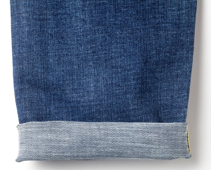 This is a close look at the cuffs of a pair of denim pants.