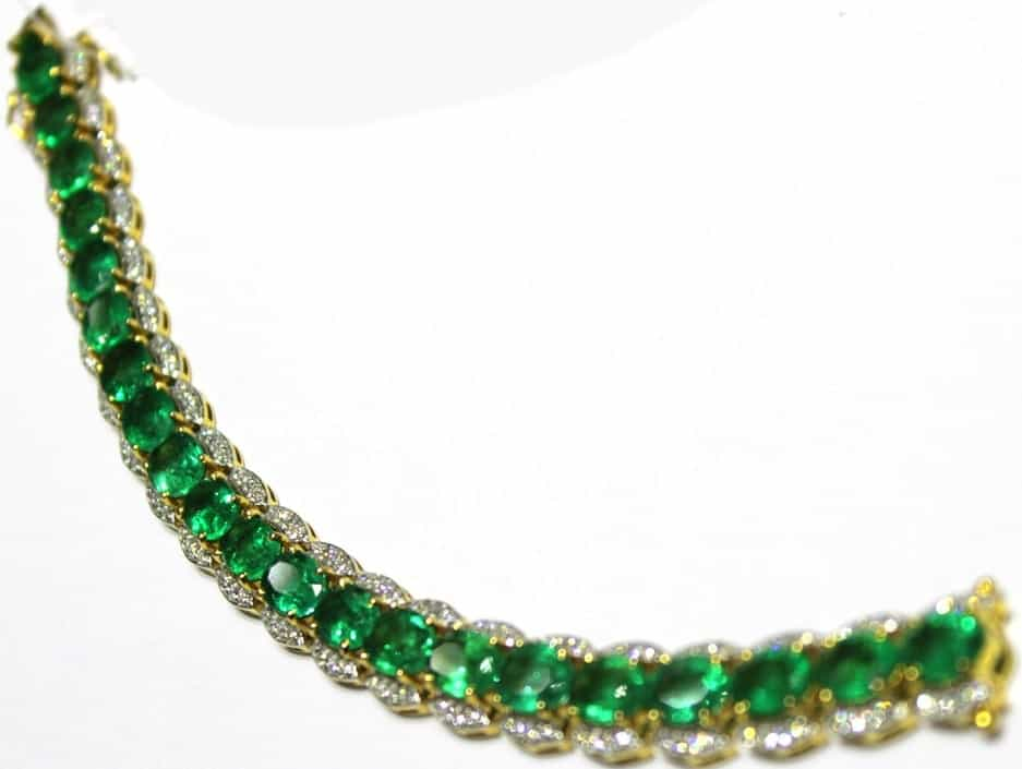 This is a close look at a bracelet with Zambian emeralds.