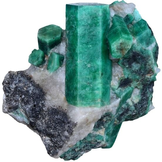 This is a close look at a large piece of Bahia Emerald.