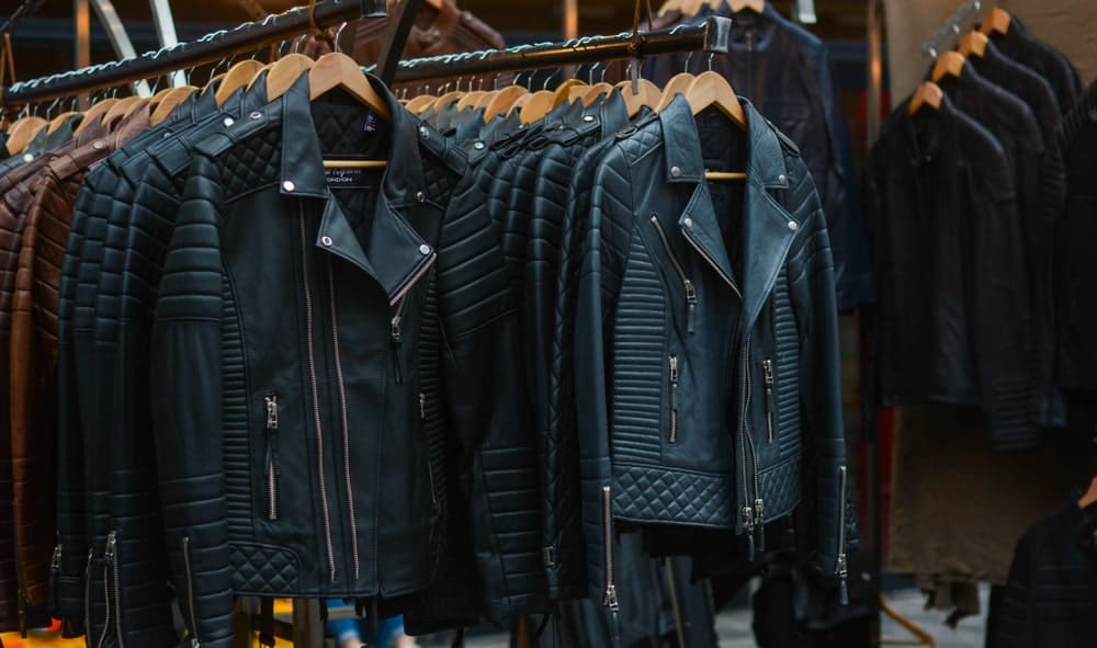 This is a display of various leather jackets at a store.