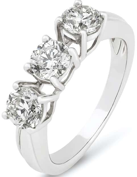 This is a close look at a ring with three diamonds.