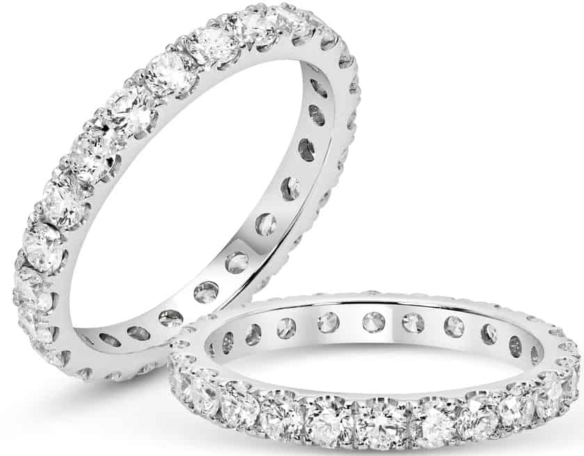 A couple of anniversary bands with diamonds.