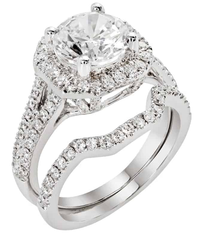 This is a close look at a cluster ring with diamonds.