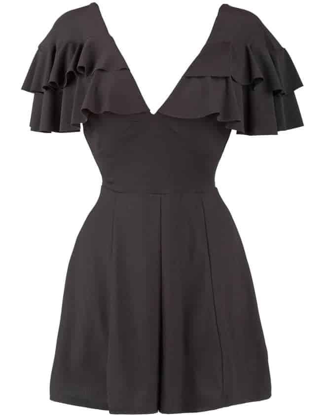 This is a close look at a little black dress with butterfly sleeves.