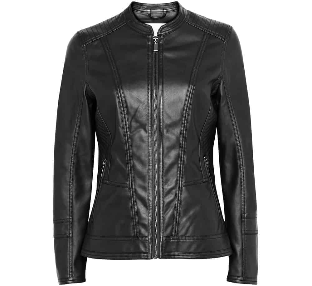 A close look at a black faux leather biker jacket.