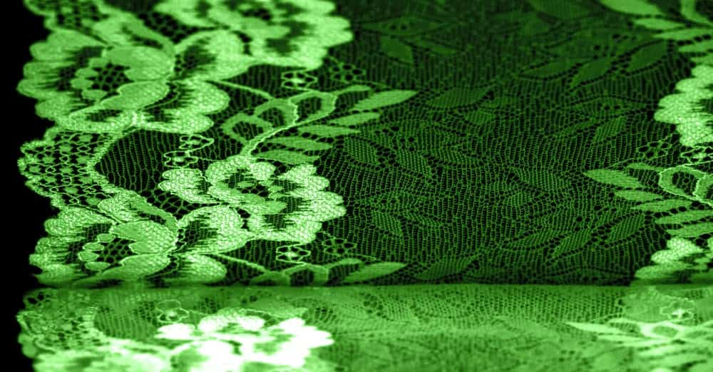 A close look at a stretch lace fabric with floral patterns.
