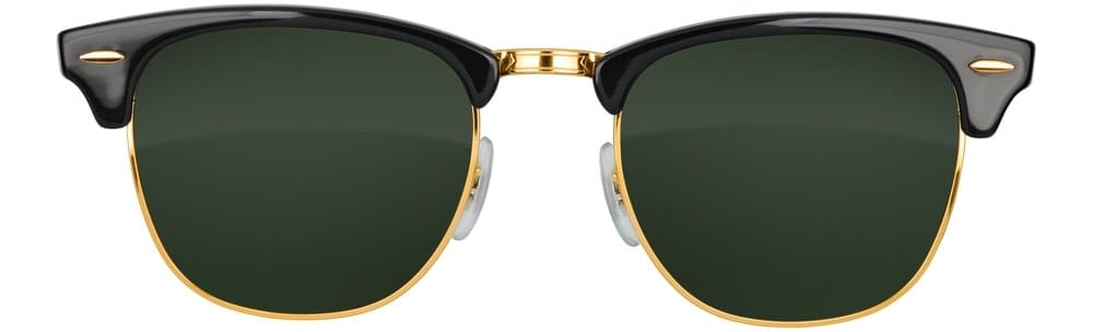 A pair of black browline sunglasses with gold accents.