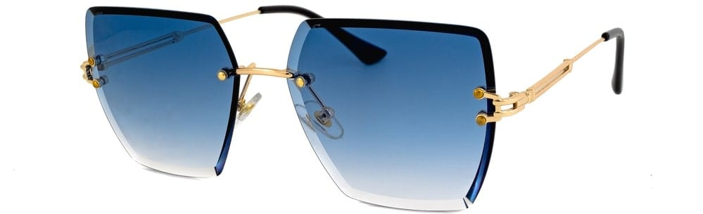 A pair of rimless sunglasses with colored lenses.