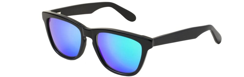 A close look at a pair of sunglasses with colored lenses and plastic frames.