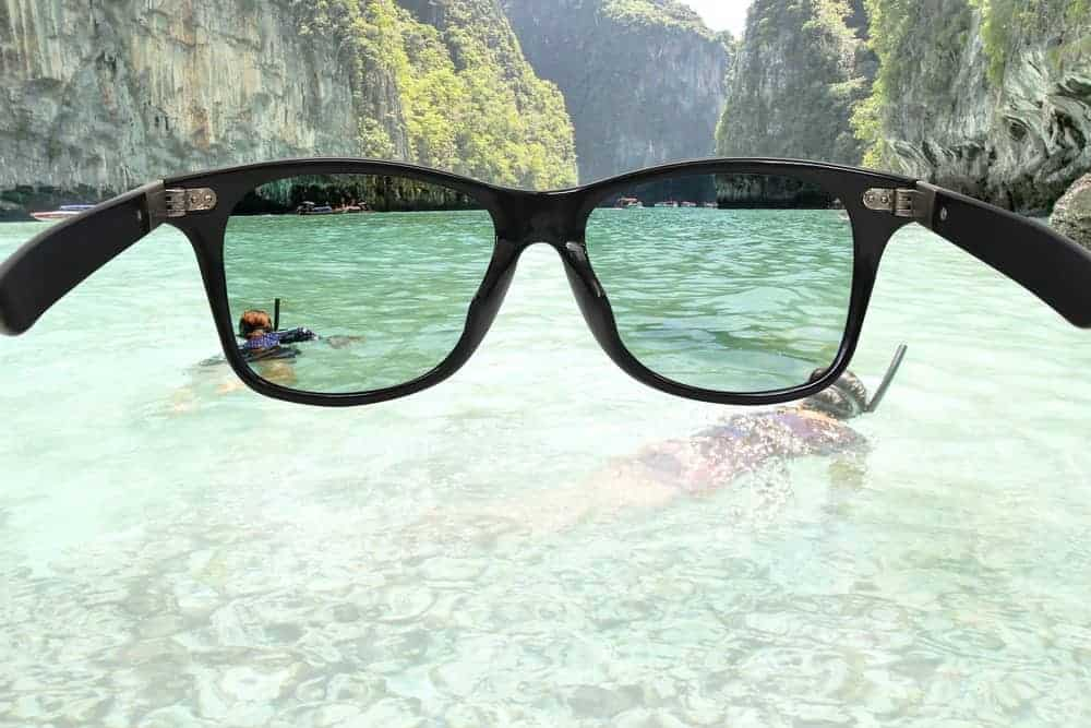 This is a close look at how a pair of polarized sunglasses affects the sight and filtering of light.