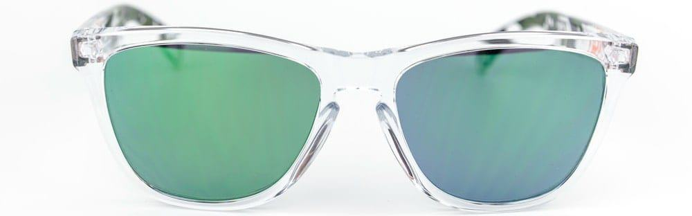 A close look at a pair of ski glass with polycarbonate lenses.
