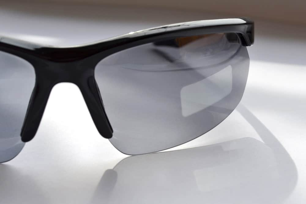 This is a close look at a pair of riding sunglasses with Photochromic Lenses.