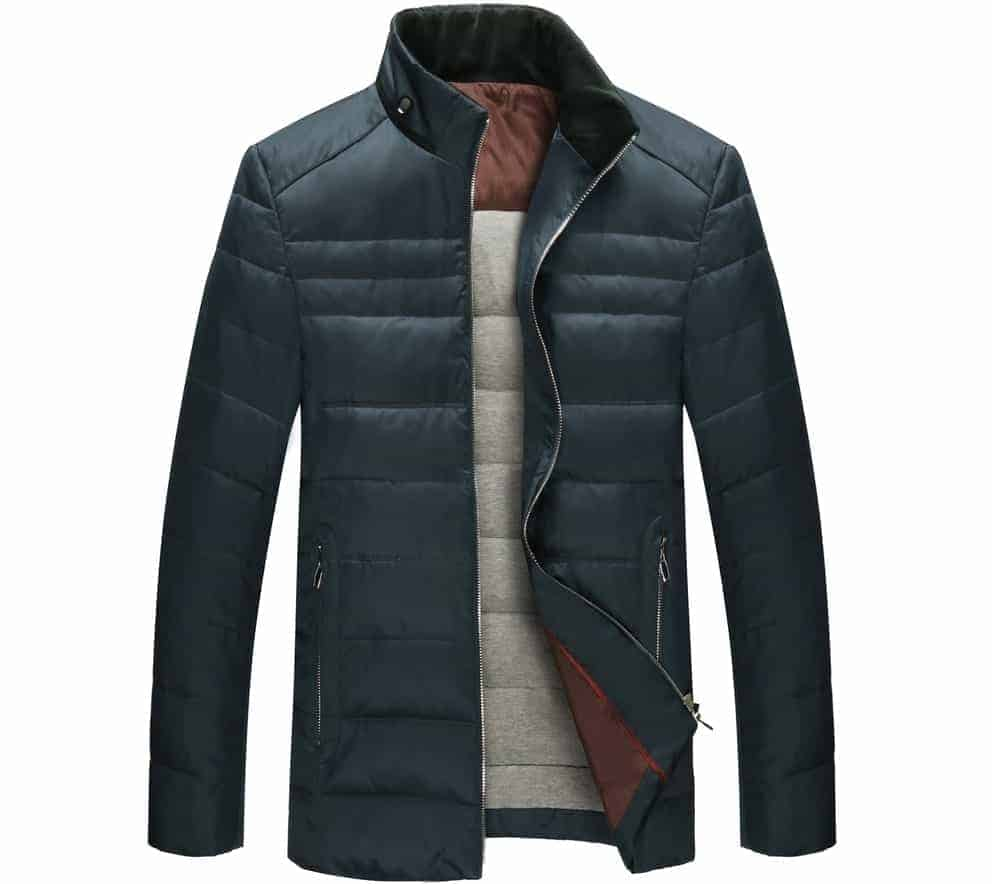 This is a close look at a puff jacket with zipper.