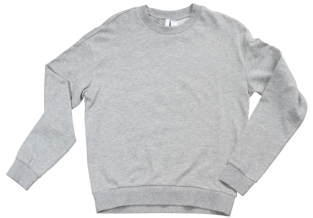 This is a close look at a gray crewneck sweatshirt.