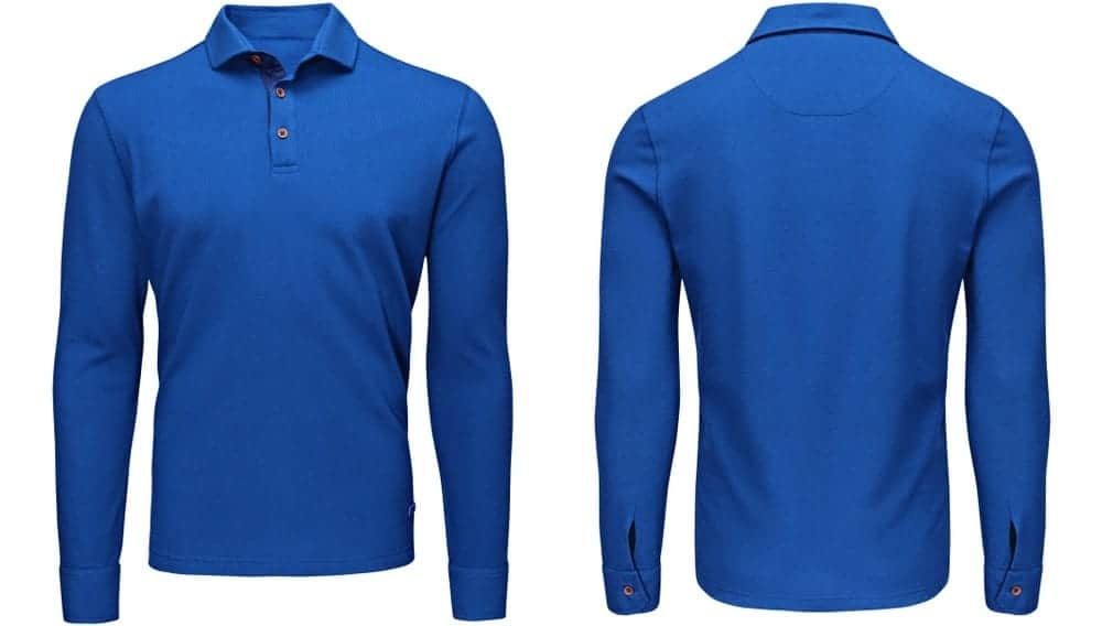 This is a front and back view of a blue polo sweatshirt.