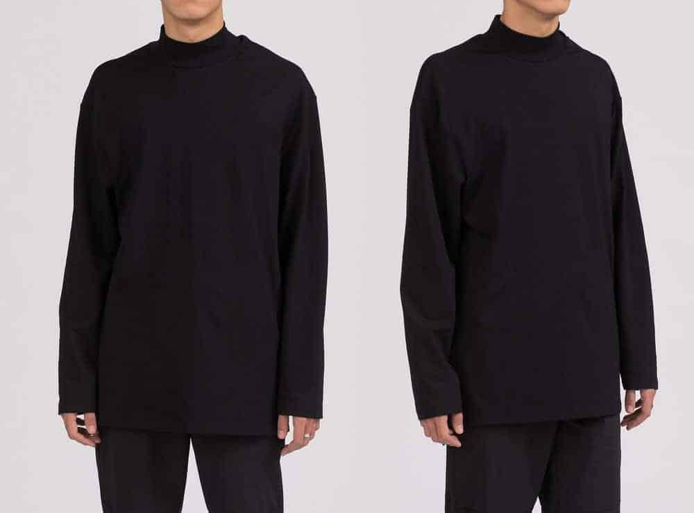 A dual look at a man wearing a black long-sleeved sweatshirt.