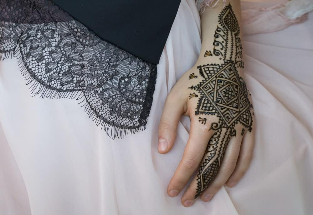 This is a close look at a hand with geometric henna tattoos.