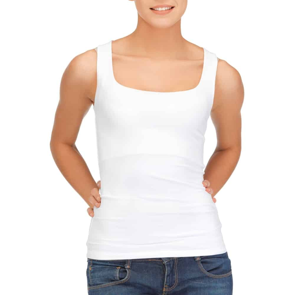 This is a close look at a woman wearing a white cotton undershirt tank top.