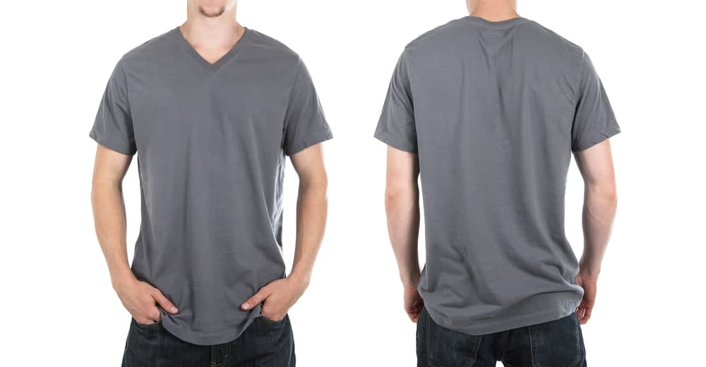 A front and back view of a man wearing a gray V-neck shirt.