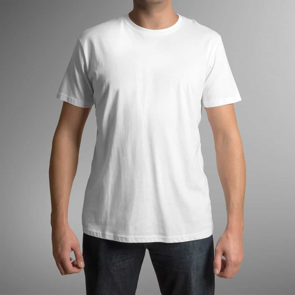 This is a close look at a man wearing a white crew neck undershirt.
