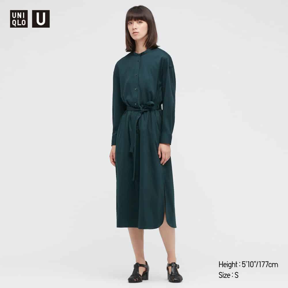 Uniqlo Women U Mercerized Cotton Belted Long-Sleeve Dress