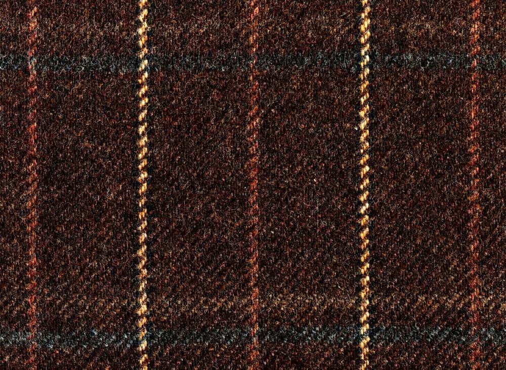 Brown fabric in windowpane pattern.