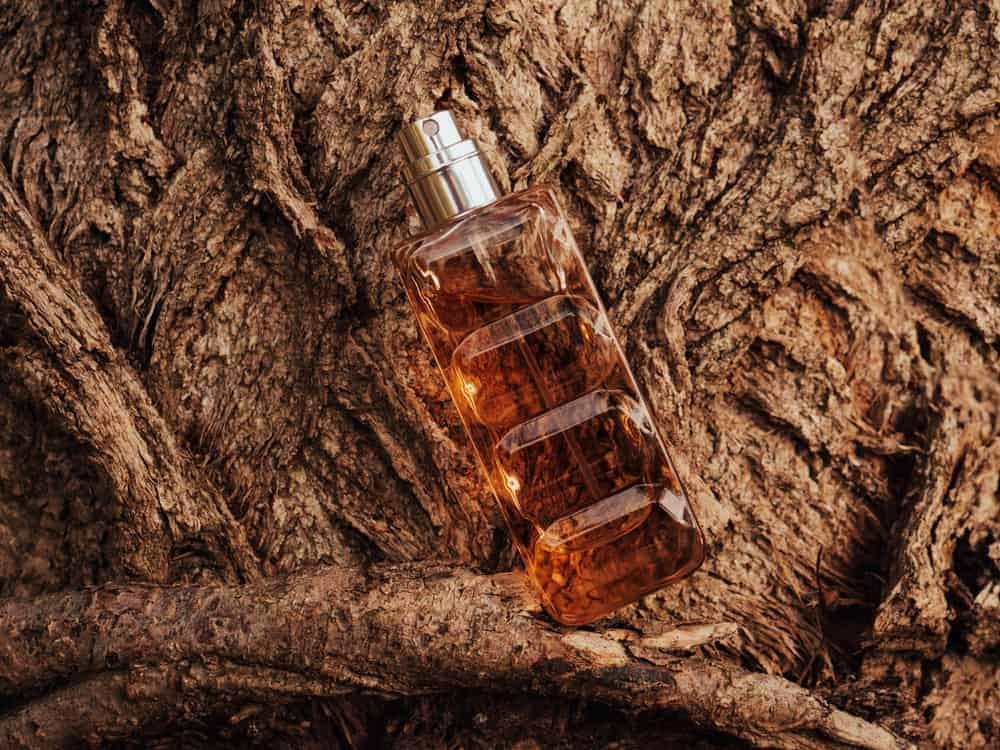 Perfume spray bottle against a wooden bark tree background.