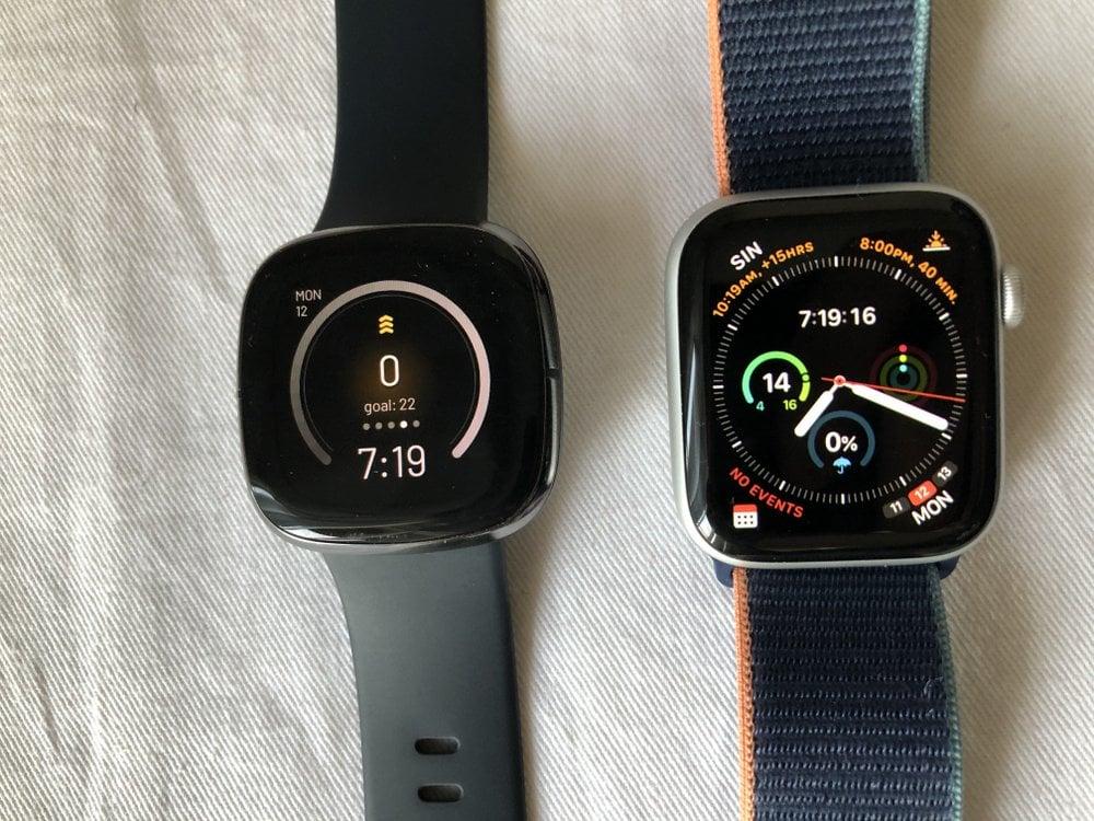 apple watch series 6 vs fitbit sense main screen