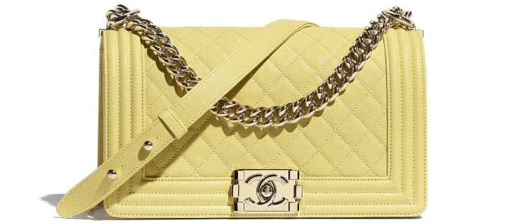 The Boy Chanel Handbag, Grained calfskin in gold and yellow from Chanel.