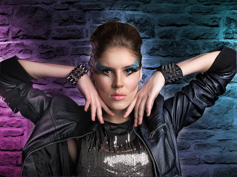 Model sporting a glam rock look.