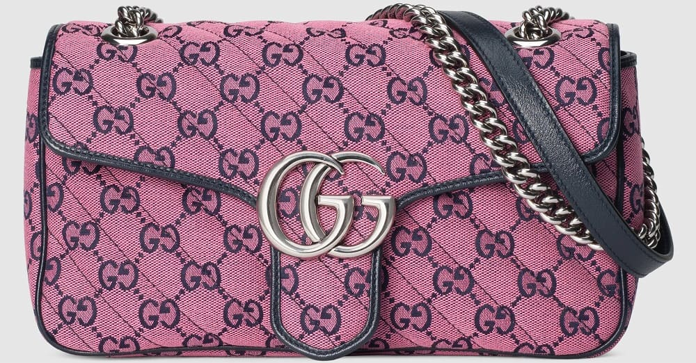 The pink GG Marmont small shoulder bag from Gucci.